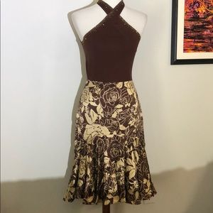 Beige and brown 2-pc Muse skirt set